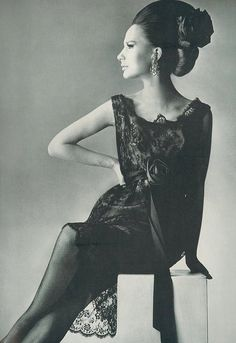 Brigitte Bauer wearing a black Chantilly lace cocktail dress by Rudolph, photo by Penn for Vogue 1965