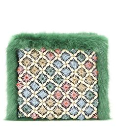 Shrimps - Candy Clutch - Extraordinary detailing adorns the hand-beaded 'Candy Clutch' from British faux fur advocates, Shrimps. Playful in tone and dynamic by nature, this is a clutch to be paraded proudly. Let this grass-green pouch transport your outfit to wonderland. seen @ www.mytheresa.com