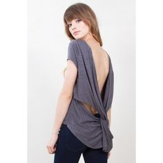 Sexy Twisted Open Back Shirt Heather grey knit t-shirt with a cool open twist back. So sexy and soft! Brand new in package. Tag size is M. Sizes S and L also available in my closet. Nasty Gal Tops