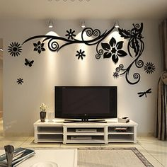 The Pitfall of Couple Tree Wall Murals for Living Room Sofa Backdrop Tv Wall Background - lowesbyte Wall Painting Decor, Tv Wall Decor, Wall Decor Design, Wall Stickers Home Decor, Deco Design, Mirror Stickers, Diy Wall, Wall Decorations, Bedroom Wall Designs