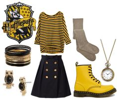 Dressing Hufflepuff (except for the owl earrings)