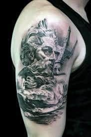 What does poseidon tattoo mean? We have poseidon tattoo ideas, designs, symbolism and we explain the meaning behind the tattoo. Poseidon Tattoo, Zeus Tattoo, Hercules Tattoo, Trident Tattoo, Arm Tattoo, Sailor Tattoos, God Tattoos, Badass Tattoos, Tattoos For Guys