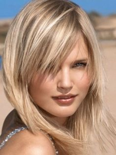 Image result for blonde highlights and hair with long bangs