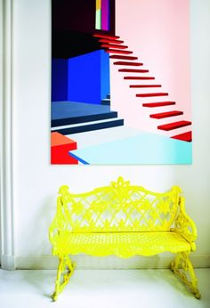 neon yellow entrace bench