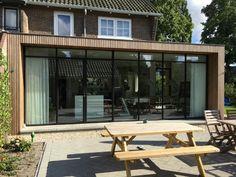 Timber Cladding, Exterior Cladding, Facade Design, Exterior Design, House Extension Design, House Design, Steel Doors And Windows, Secret House, Patio