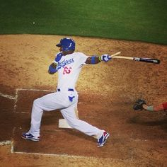 Puig breaks a bat. #...