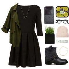 Blackfive #2 by hiddlescat on Polyvore featuring мода, Zara, H&M, Michael Kors, Monki, J.Crew, black, GREEN, dress and jacket