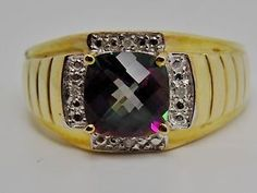 Mens 2 5 Ct Mystic Topaz Diamond Ring 10K Solid Band Comfort Fit 6 6gr New | eBay