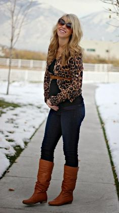 Leopard cardigan with skinnies and brown booties