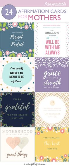 FREE printable affirmation cards for mothers via @karenschrav