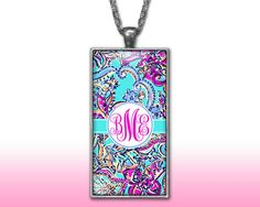 Paisleys Monogram Pendant Charm Necklace Personalized Pink Aqua Custom Silver Plated Jewelry