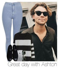 """""""Great day with Ashton"""" by mmbrambilla ❤ liked on Polyvore featuring Topshop, BEA, Converse and Ray-Ban"""