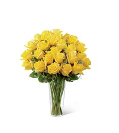 Sunny yellow roses are a cheery and wonderful gift. Celebrate a birthday, anniversary, graduation or any occasion with this lively bouquet arranged with seeded eucalyptus in a clear glass vase.