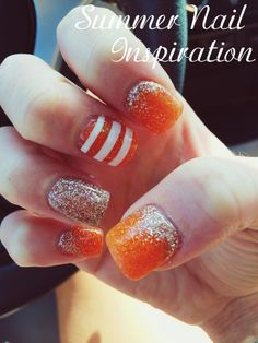 Summer nails - maybe not in orange tho! Love Nails, Pretty Nails, Fun Nails, Cute Nail Designs, Acrylic Nail Designs, Nailart, Fall Acrylic Nails, Thanksgiving Nails, Striped Nails