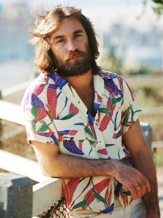 Dennis Wilson, founding member, vocalist and drummer of The Beach Boys was born today in Dennis was the middle brother of the 3 famed Wilson's in the group and the 'surfer' in the group. Dennis passed away in a drowning next to his boat dock in Dennis Wilson, Carl Wilson, The Beach Boys, Tough Love, Aloha Shirt, Spring Shirts, Pictures Of People, We The People, Vintage Outfits