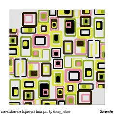 retro abstract liquorice lime pink black poster