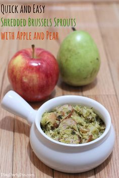 Shredded brussels sprouts with chicken sausage, apple, and pear #recipe #dinner #brussels