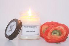 Moroccan Rose Soy Candle  // Mason Jar Candle  // Scented Candle // Candle Gift // Rose Candle // Rose Scented Candle // Pure Soy Candle by LynwoodCandleCompany on Etsy https://www.etsy.com/listing/450436472/moroccan-rose-soy-candle-mason-jar