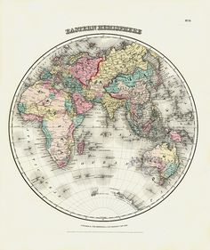 Eastern Hemisphere from Antique Atlas Maps by George Woolworth Colton 1856