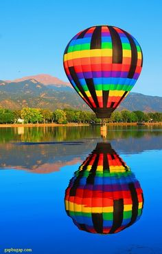 Stunning Picture Of Hot Air Balloon With Reflections