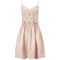 Miss Selfridge Cutwork Sundress ($42) ❤ liked on Polyvore featuring dresses, nude, pink dress, pink sundress, miss selfridge dress, cotton sun dresses and miss selfridge