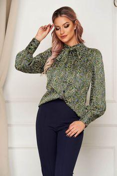 Bluza dama Artista office din satin cu croi larg cu guler tip esarfa Bow Blouse, Long Sleeve, Sleeves, Tops, Women, Fashion, Artists, Moda, Long Dress Patterns