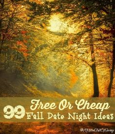 99 Free Or Cheap Fall Date Nights Check out our list of 99 Free or Cheap Fall Date Night Ideas and make sure to grab your main squeeze and head out for a fun night alone! A Mitten Full of Savings