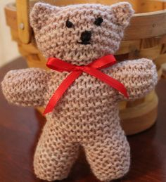 Knitting pattern for Henry the 5 inch knit bear is included in A Hug from Henry.  Children's picture book.