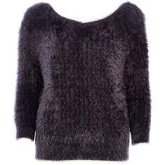 Charcoal fluffy V neck jumper £32