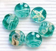 ocean-themed beads in aqua, turquoise, teal