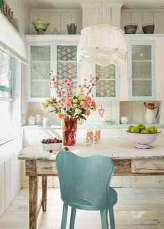 Old farmhouse kitchen with lacy cabinet inserts.... - ~Magical Home Inspirations~