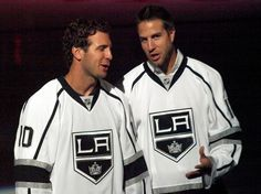 """Mike Richards and Simon Gagne in LA Kings jerseys. Simon was asked, """"Which LA King are you most looking forward to playing with?"""" He answered, """"Justin Williams""""."""" my first two loves of the Mike Richards, Justin Williams, La Kings Hockey, Los Angeles Kings, Win Or Lose, Philadelphia Flyers, Ice Hockey, Hot Guys, My Style"""