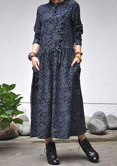 Femmes de linge en coton & jupe étant robe/long robe/femmes chemisier /femme Vêtements/femme longue robe/Chinese style/floral impression/longue jupe
