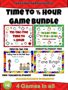 I've bundled all my Time to the Half Hour games: Teacher vs Student,Time Bingo, Tic-Tac-Toe(Half Hour), and Student vs Student Time PPT Game.  This bundle also includes exclusive worksheets only found in this bundle. There are a minimum of 20 questions per game. All analog clocks.