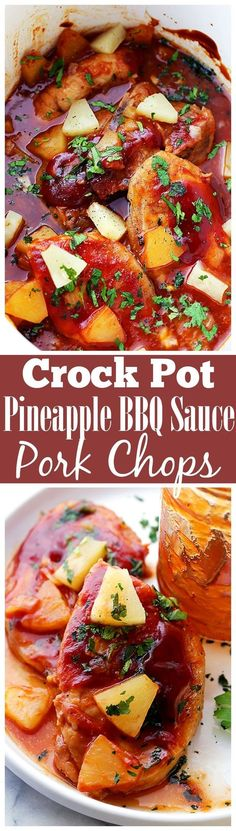 Crock Pot Pineapple Barbecue Sauce Pork Chops - Combined with tangy, homemade barbecue sauce and sweet, tender pineapple, this easy, family friendly recipe for Crock Pot Pork Chops is incredibly delicious, yet so simple to make!