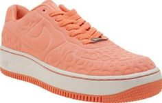 Nike Peach Air Force 1 Upstep Se Womens Trainers Nike take their Air Force 1 profile to contemporary new heights, as the Upstep SE arrives. The attention-grabbing neon peach fabric upper features an intricately debossed upper, sitting on a 4cm Air-S http://www.comparestoreprices.co.uk/january-2017-8/nike-peach-air-force-1-upstep-se-womens-trainers.asp