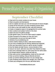 Printable Cleaning List for September - PintoPin Home Cleaning Remedies, Diy Home Cleaning, Household Cleaning Tips, House Cleaning Tips, Spring Cleaning, Cleaning Hacks, Cleaning Lists, Cleaning Schedules, Speed Cleaning