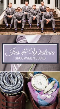 Searching for ideas for your groomsmen? Consider a pair of bold, argyle socks in the perfect shades of iris and wisteria. It is a great wedding party gift and it will add coordination and style to all of your wedding photos. Shop these and more. Photography by http://leahbarryphotography.com/