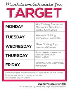 Target Markdown Schedule  for saving money from www.thirtyhandmadedays.com