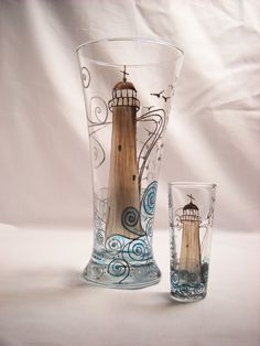 Hand Painted Lighthouse Art on Glassware