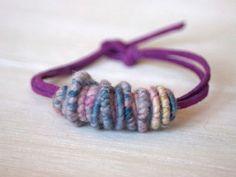Brass-Fiber-Bead Hand Spun Yarn Bracelet by jimenasjewelry on Etsy