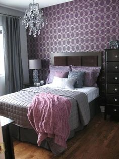 Glamorous Lavender and Gray Bedroom! Nice balance of masculine and feminine for master bedroom.