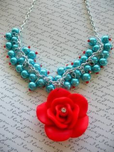 aqua and red necklace