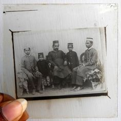 India1930s Antique magic lantern glass Slide Photo 2 Man 3Child Sitting on Chair