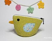 Bird Pouch / Crocheted little bag / Cosmetic purse / Light olive green/ everyday use