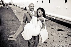 The happy couple returns to Majesty of the Seas after their destination wedding in the Bahamas.