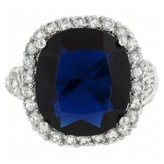 Gillian's Fine Sapphire Blue Cushion Cut CZ Cocktail Ring ($40) ❤ liked on Polyvore