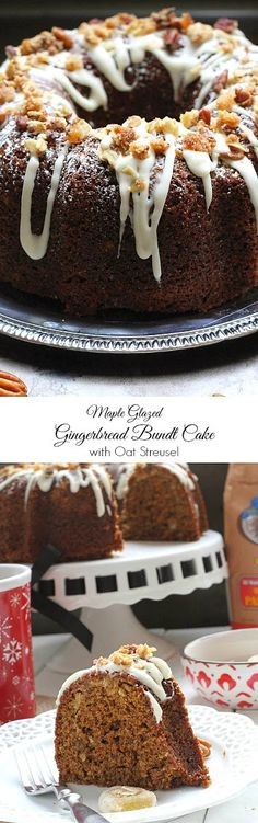 Maple Glazed Gingerbread Bundt Cake with Ginger Oat Streusel