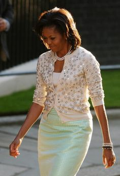 First Lady Michelle Obama- this is one of the prettiest things I've ever seen her wear.........KKF