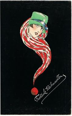 collect.at: Blog for Collectors » Blog Archive » Scarce Art Deco Xmas Postcard 1929. Lady with green Hat and Shawl.